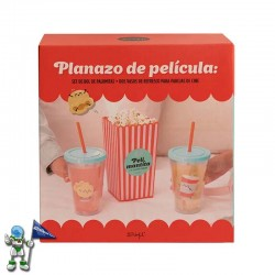 SET MR WONDERFUL DE BOL DE PALOMITAS Y DOS VASOS PARA PAREJAS DE CINE