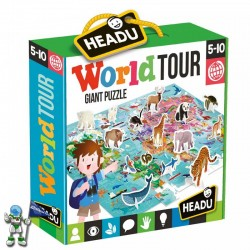 WORLD TOUR , PUZZLE 108 CON ANIMALES 3D , PUZZLE HEADU