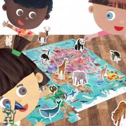 WORLD TOUR , PUZZLE 108 CON ANIMALES 3D , PUZZLE HEADU