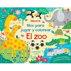 BLOC PARA JUGAR Y COLOREAR , EL ZOO , LIBROS USBORNE