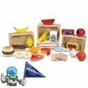 Juguete de madera. Grupo de alimentos