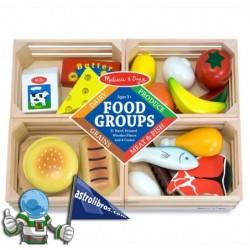 Grupo de alimentos. Juguete de madera.
