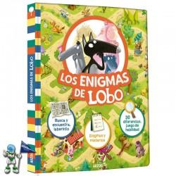 LOS ENIGMAS DE LOBO, BUSCA Y ENCUENTRA, LABERINTOS, ENIGMAS Y MISTERIOS, DIFERENCIAS