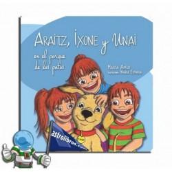 Araitz, Ixone y Unai en el parque de los patos