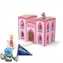 Castillo de madera plegable y portátil en rosa.
