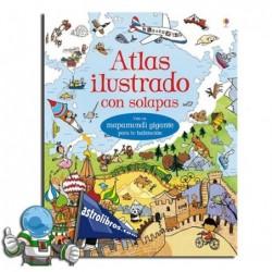 Atlas ilustrado con solapas.