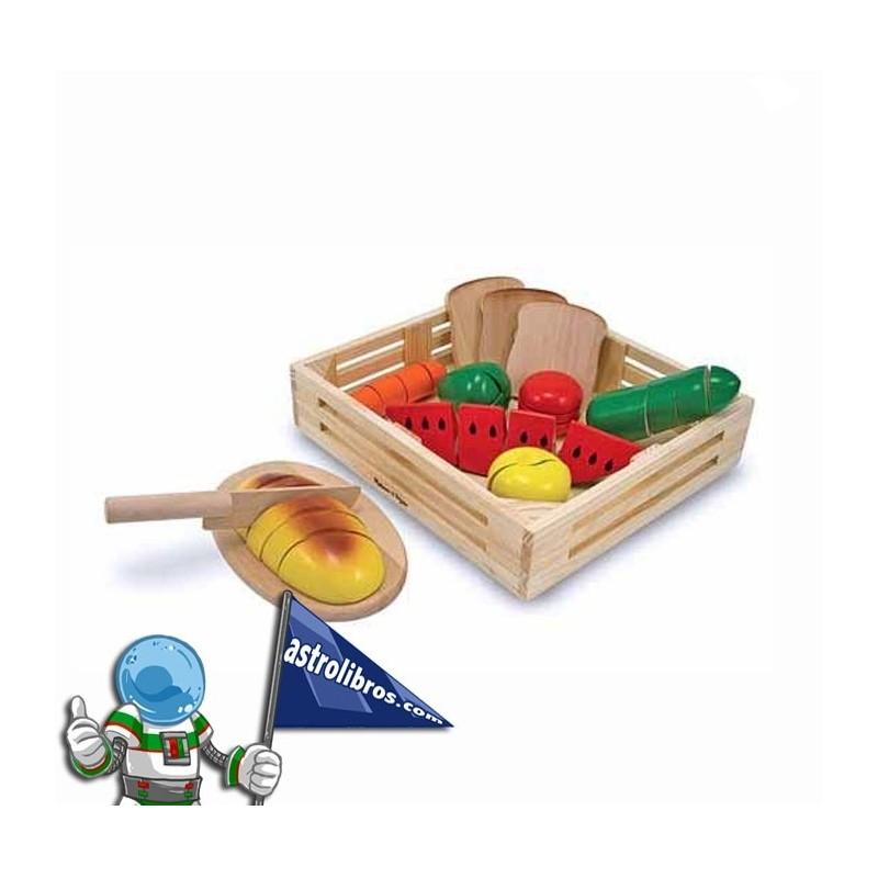 Alimentos de madera para cortar.