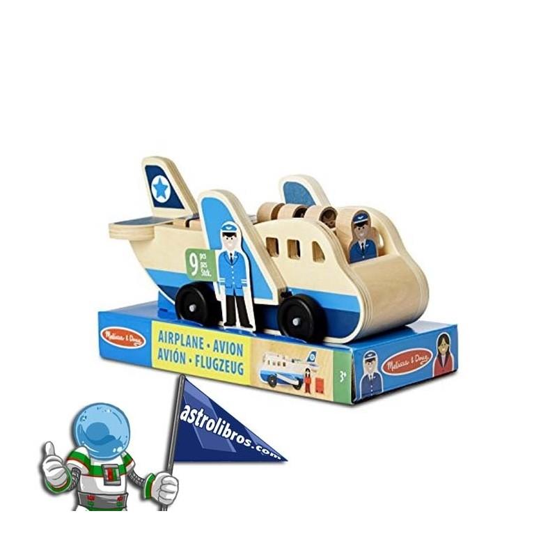 Avión de madera con personajes.