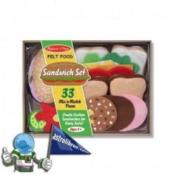 Alimentos de fieltro. Crea Sandwich y bocadillos.