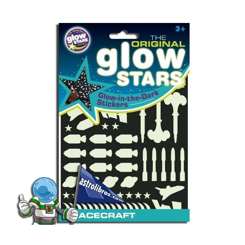 Naves espaciales y estrellas que brillan en la oscuridad. Spacecraft