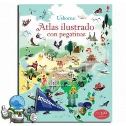 Atlas ilustrado con pegatinas. Erderaz.