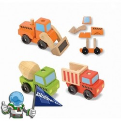 Vehículos de construcción apilables de madera.