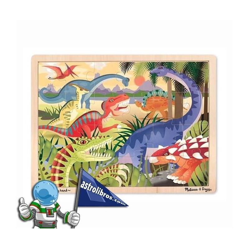 Puzzle de madera de 24 piezas. Dinosaurios. Egurrezko jostailuak