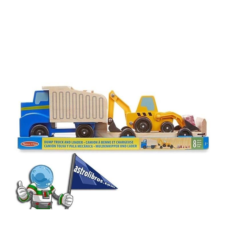 Camión tolva y pala mecánica/excavadora. Egurrezko jostailuak