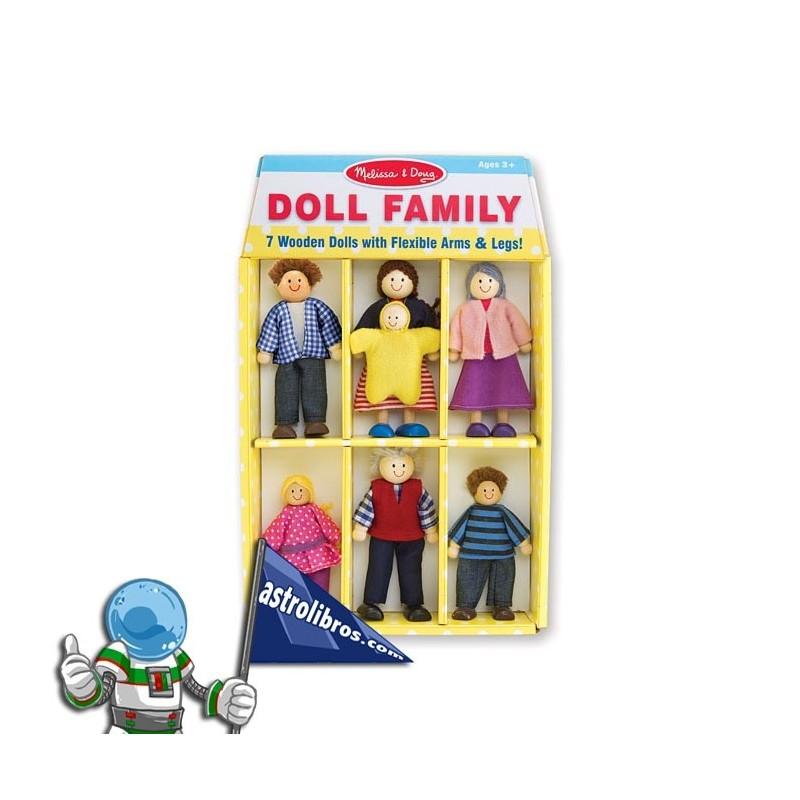 Famila de 7 muñecos de madera