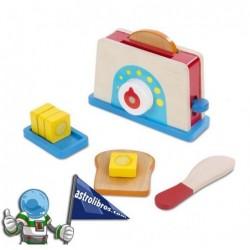 Juguete de madera de tostadora de pan y mantequilla