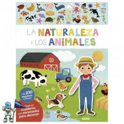 LA NATURALEZA Y LOS ANIMALES , LIBRO DE PEGATINAS REUTILIZABLES