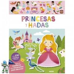 PRINCESAS Y HADAS , LIBRO DE PEGATINAS REUTILIZABLES